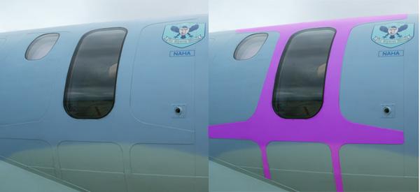 ダブラ 救難捜索機U125Aの捜索窓回りに設けられたダブラ。モニタ環境によっては見づらいかも…わ
